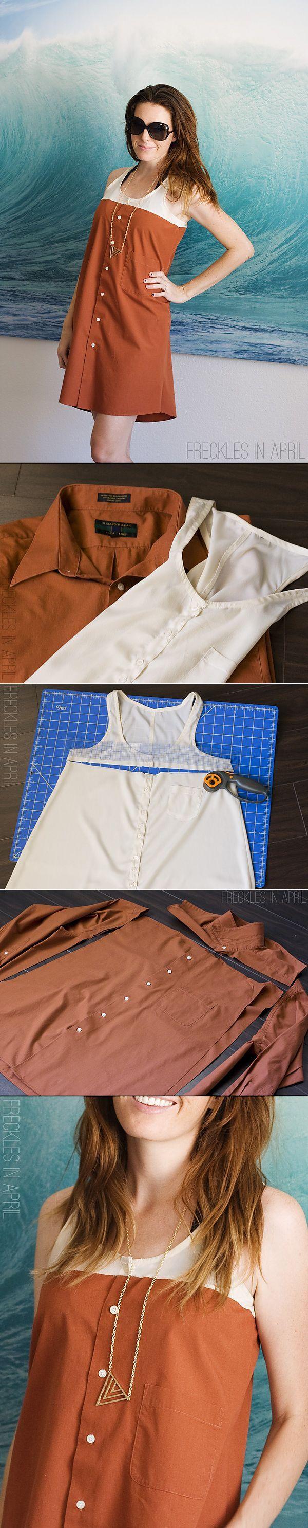 Crea tu propio vestido con una blusa y una camisa larga de botones.