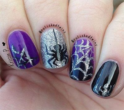 Spider Nail Art Design for Halloween with glitter - 15 Spooky Halloween Nails Art Designs & Ideas 2016 Spooky