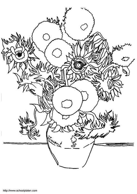 Coloring Page Sunflowers Coloring Picture Sunflowers Free Coloring Sheets To Print And Download Images Fo Famous Art Coloring Van Gogh Art Art Appreciation