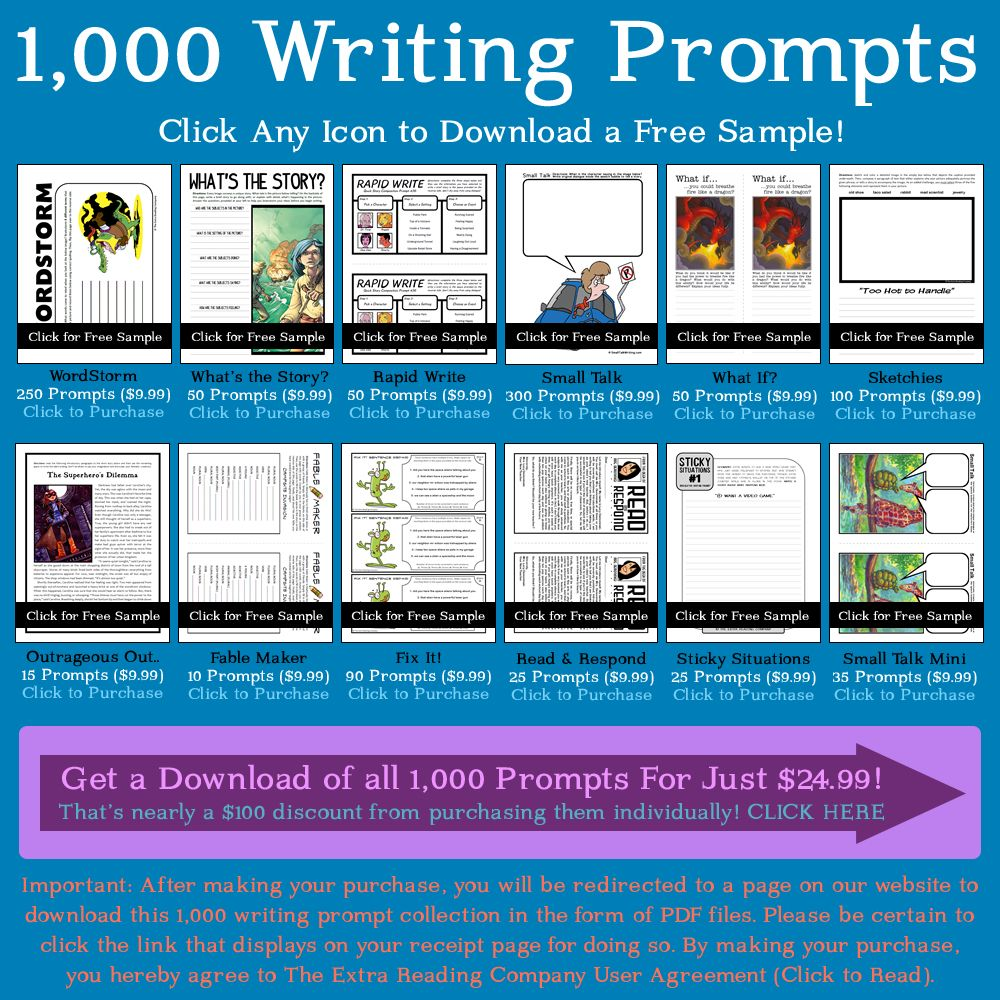 12 FREE Writing Prompt Printables Site has 1,000 in all