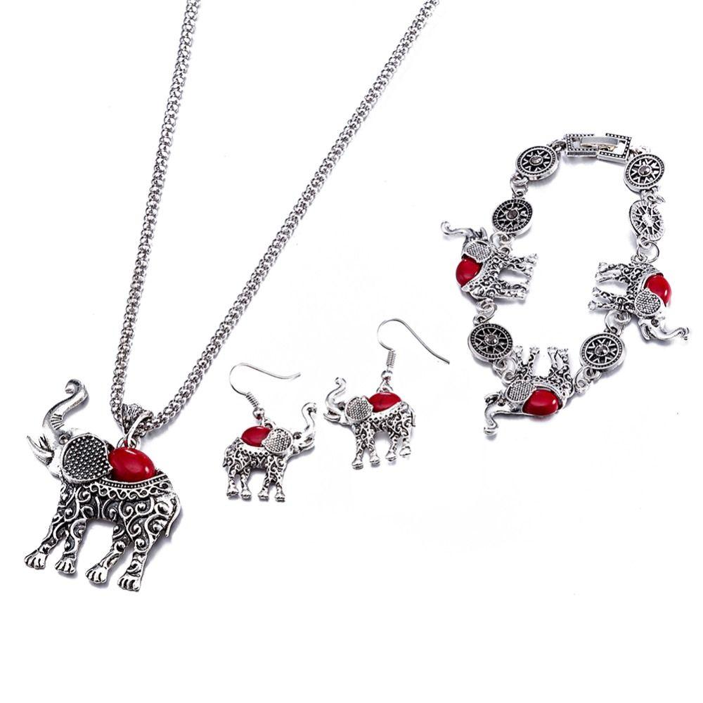 Red glass stone elephant pendant long sweater chain animal jewelry