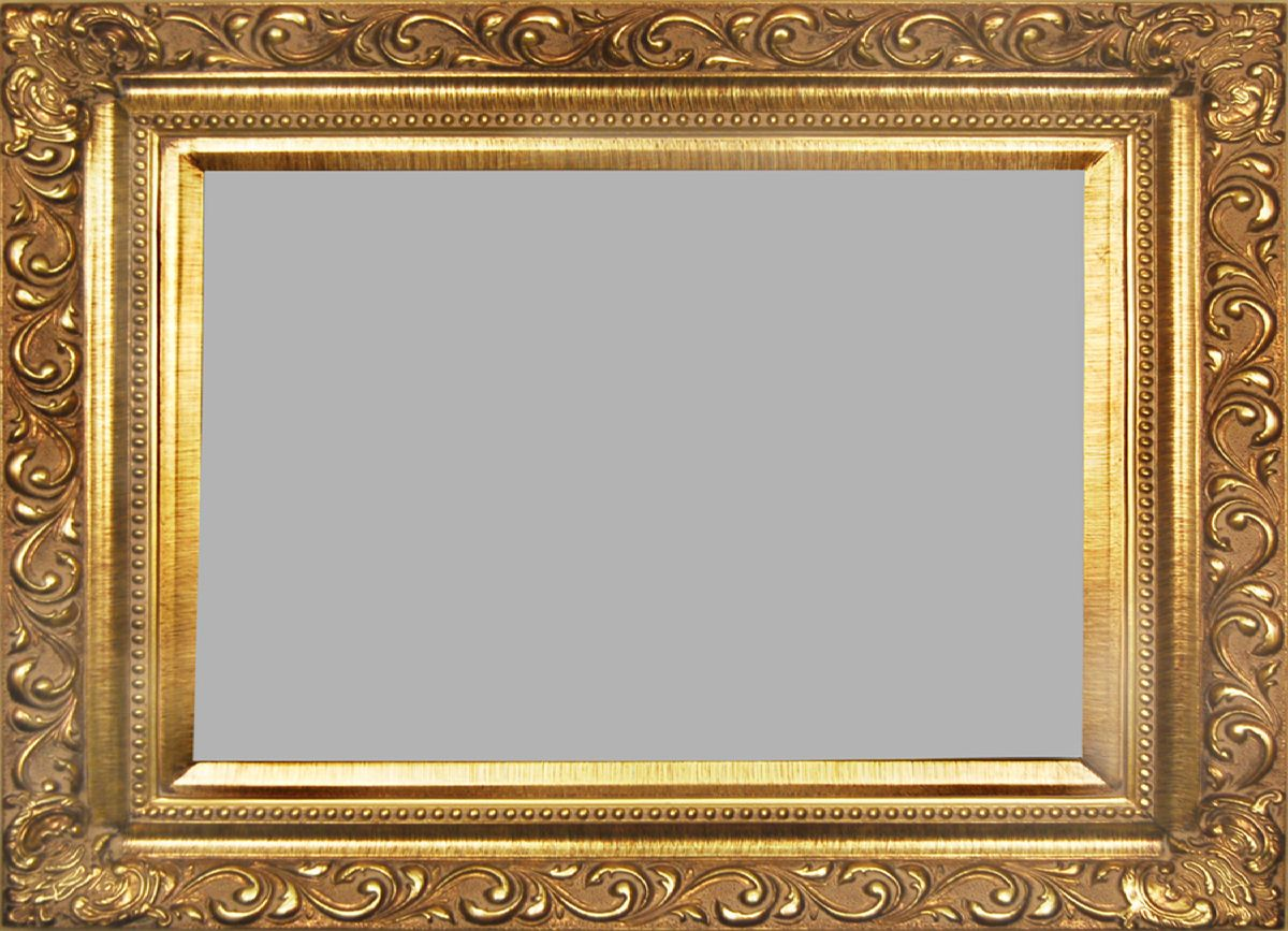 Gold Picture Frame With Delicately Carved Swirl Baroque