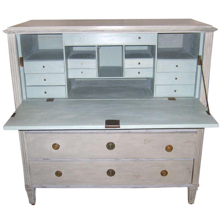 Gustavian Swedish Desk with Distressed Finish