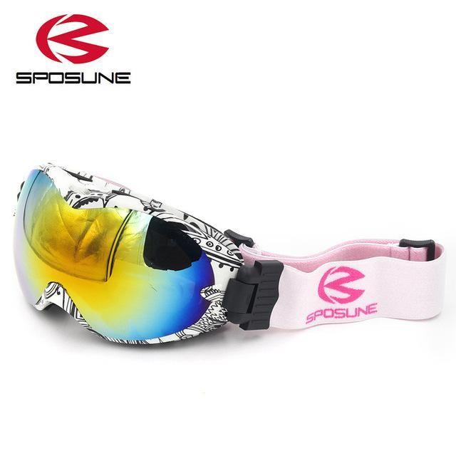Black Ski Goggles Snowboard Skating Windproof for Kids Boy Girl Junior Children