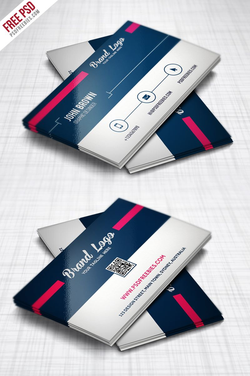 Modern Business card Design Template Free PSD | Pinterest | Business ...