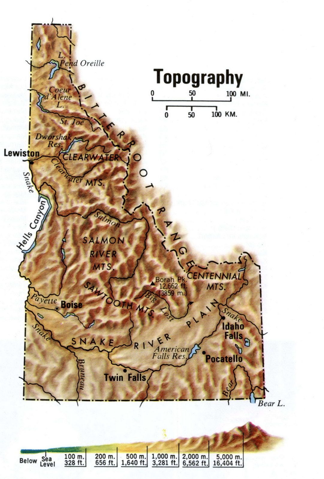 Topographical map of Idaho state | School | Topographic map ...