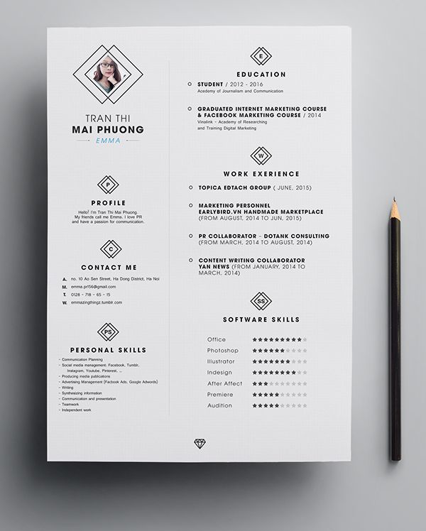 Free PSD Resume Template Naki Pinterest Template, Free and - cool resume templates free