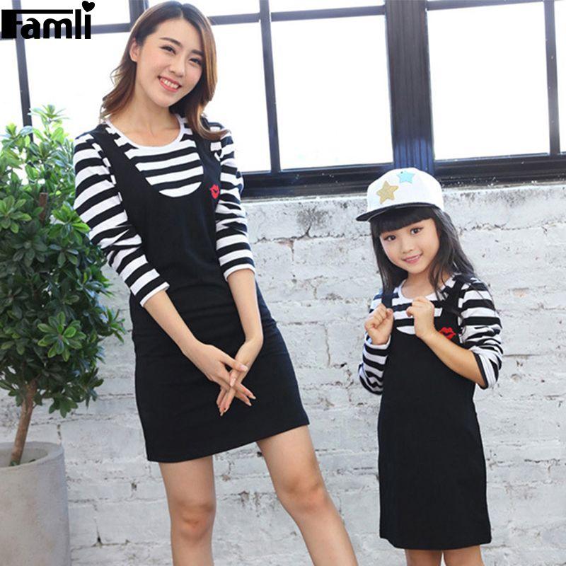 3eff4e8f0b4 Famli 1pc Mother Daughter Dress Spring Autumn Mom Baby Kids Girl Casual  Striped…