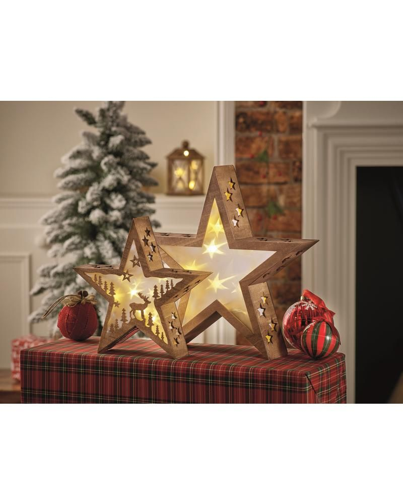 Small And Large Wooden Star With Scene Decorative Light Room Decorations Asda Direct Wooden Stars Light Decorations Christmas Tree Decorations