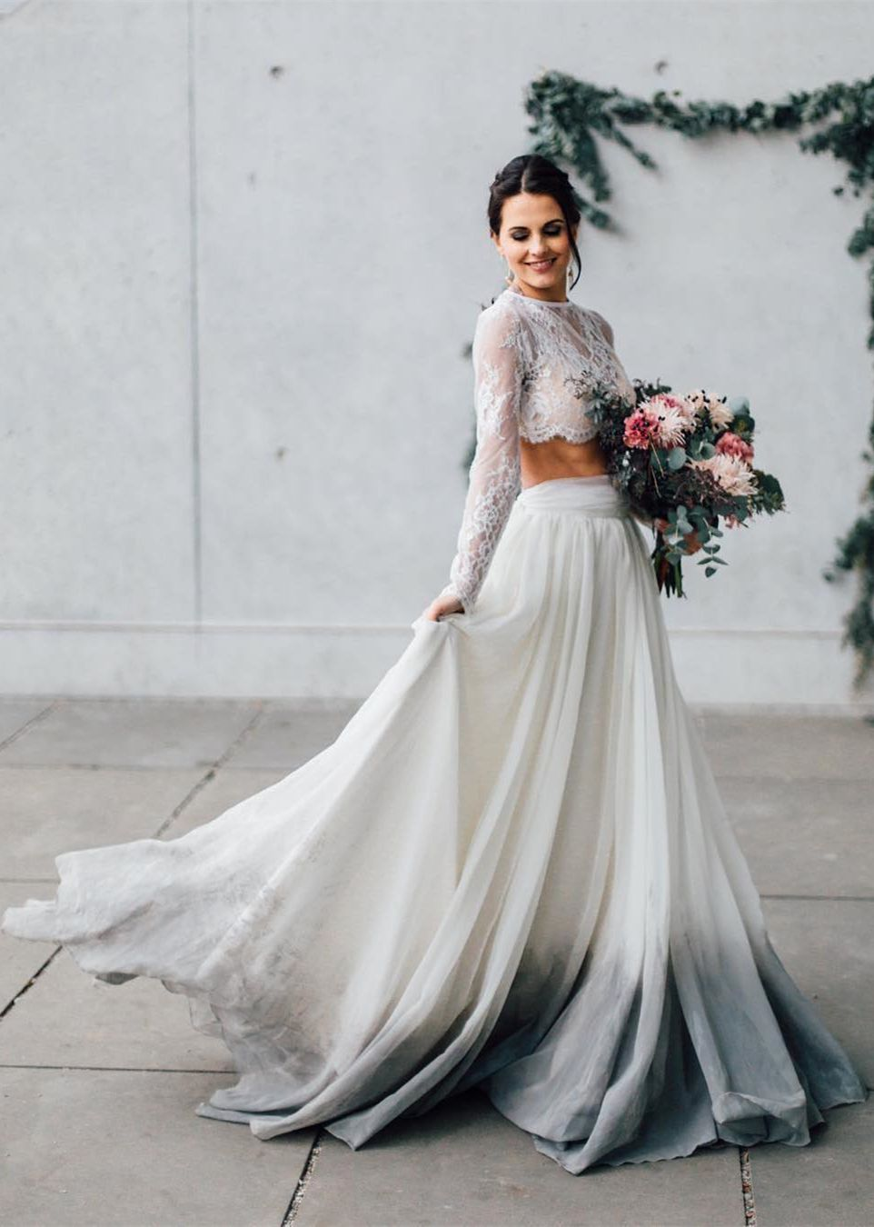 Two Piece Round Neck Long Sleeves Long Beach Wedding Dress