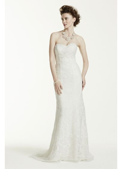 6721bd2e Oleg Cassini Lace Wedding Dress with Pearl Beads CWG641 | wedding ...