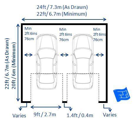 double garage dimensions with 2 doors including garage door