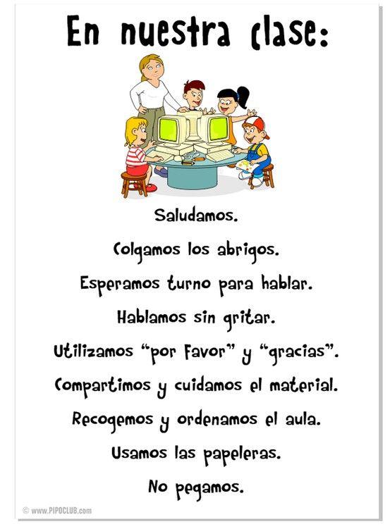 Normas en nuestra clase...en español.