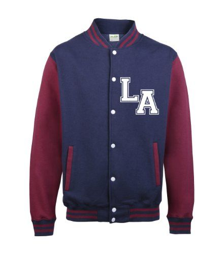 NAVY & BURGUNDY SLEEVES VARSITY JACKET With Two Initials ONLY