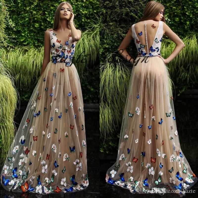 7599fcf228 Butterfly And Flower Prom Dresses 2018 Sheer Neck Sleeveless Long ...