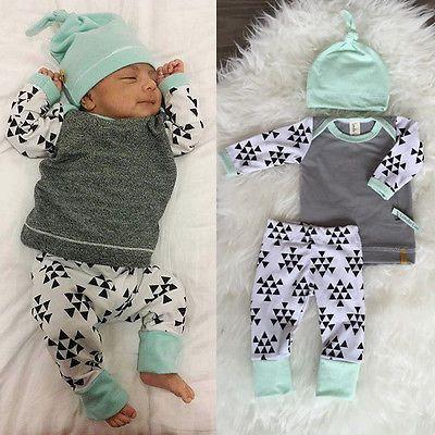 24a4aac64d83 3 PCS Newborn Baby e suit kids Girls Boys Clothes Long Sleeve T ...
