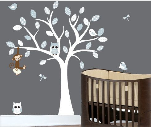 Childrens Wall Decals   Monkey On A White Tree Decal Birds And Owls.  $109.00,