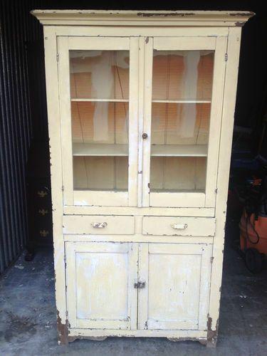 Astounding Vintage Kitchen Cupboard Glass Doors Chippy Paint Antique Beutiful Home Inspiration Cosmmahrainfo
