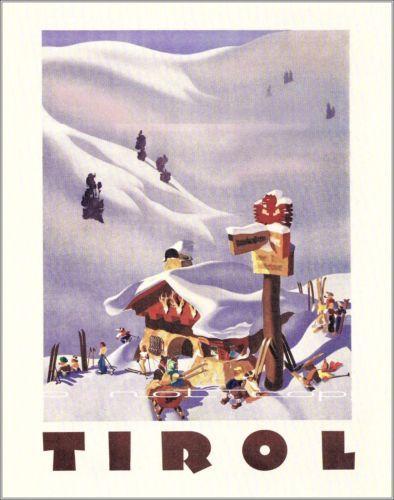 Ski Austria Tirol Retro Vintage Poster Print Art Winter Ski Sports Challet | eBay