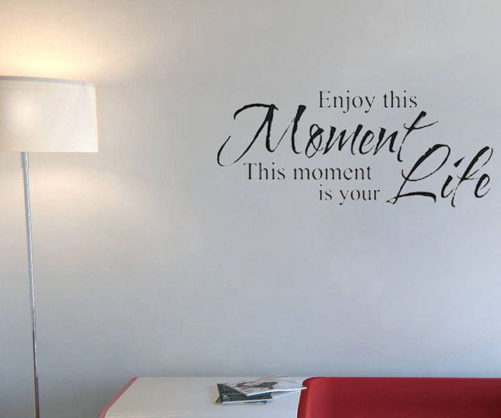 Home Wallpaper Life: Enjoy This Moment Is Your Life Wall Stickers Retro Phrases