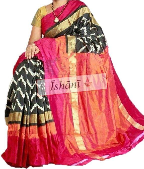 Ikat pure silk saree SKU: ISB5006 Contact: +918861255270 ishanisarees@gmail.com