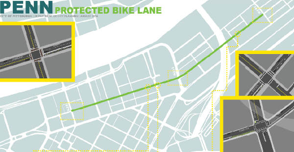 One of three protected bike lanes in Pittsburgh is