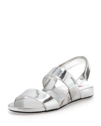 56ffae3a2121 Loving metallic for Spring - Prada Metallic Double-Band Flat Sandal