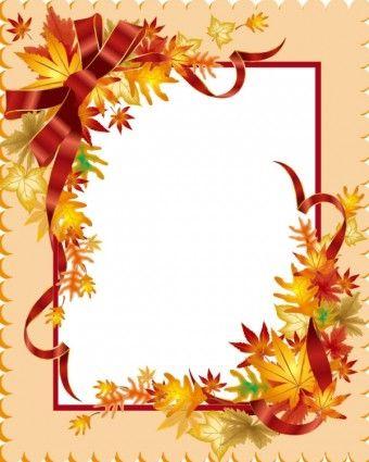 beautiful leaves card 03 vector | Fall clip art, Fall clip ...