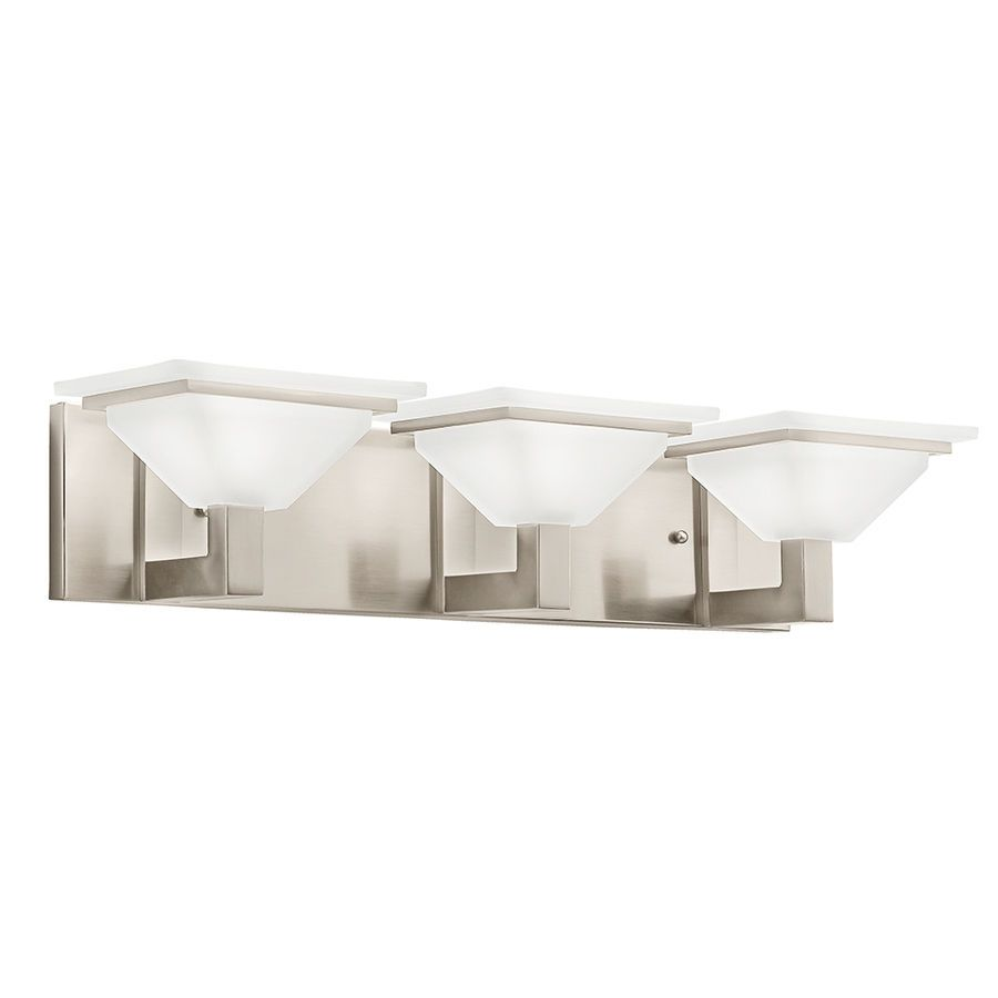 Kichler 3 Light Square Brushed Nickel Bathroom Vanity Fixture Above ...