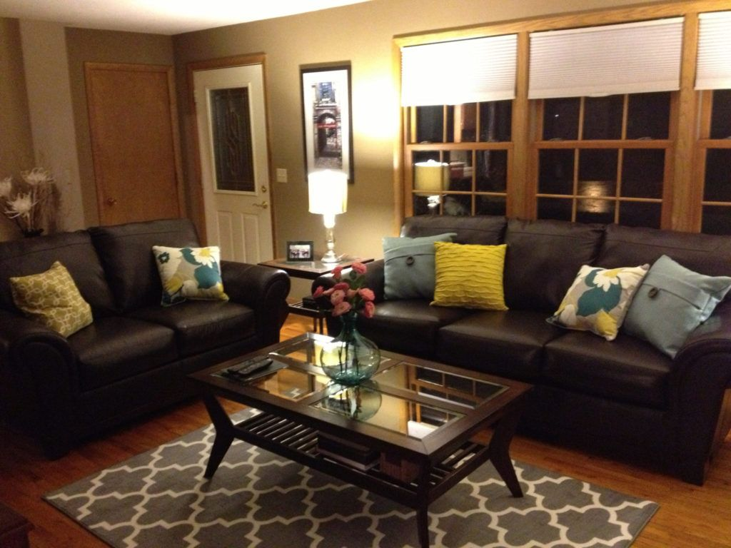 Brown Leather Sofa And Colorful Pillows Funky Living Room D