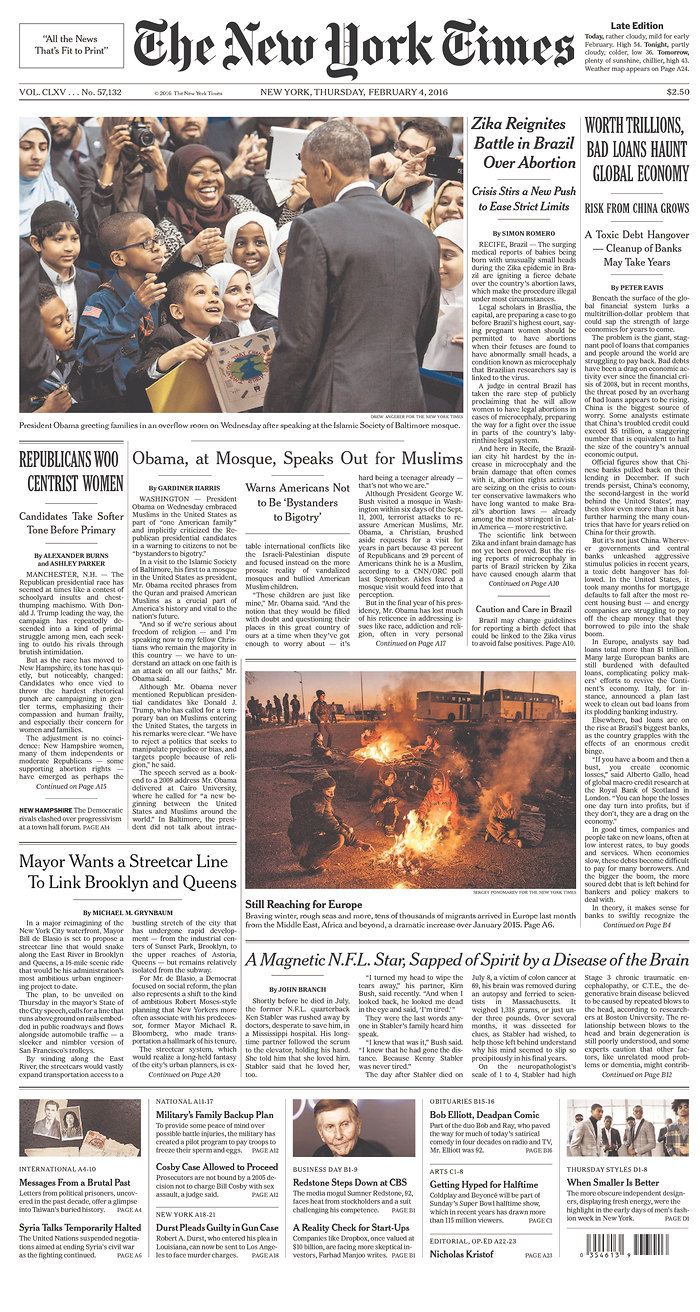 #20160204 #USA #NYC #NewYorkCity #TheNewYorkTimes #NYT Thursday FEB 4 2016 http://www.newseum.org/todaysfrontpages/?tfp_show=80&tfp_page=6&tfp_id=NY_NYT