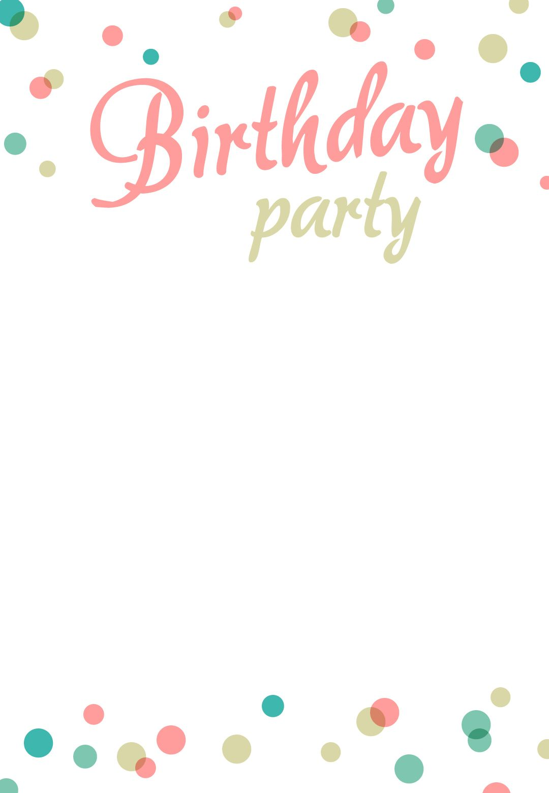 Birthday Party Dots Invitation Template Free