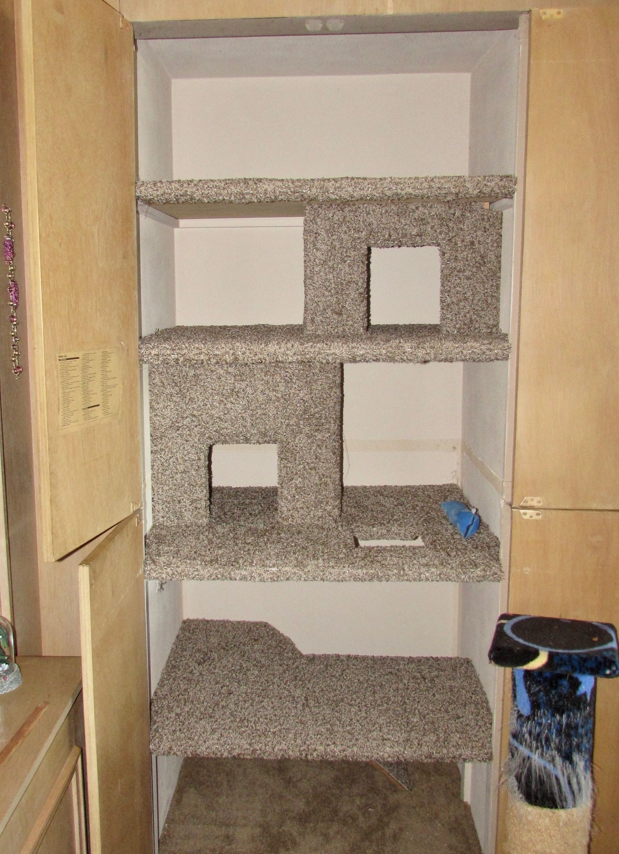 Converted Stereo Closet To Built In Cat Condo Top Two Levels Are