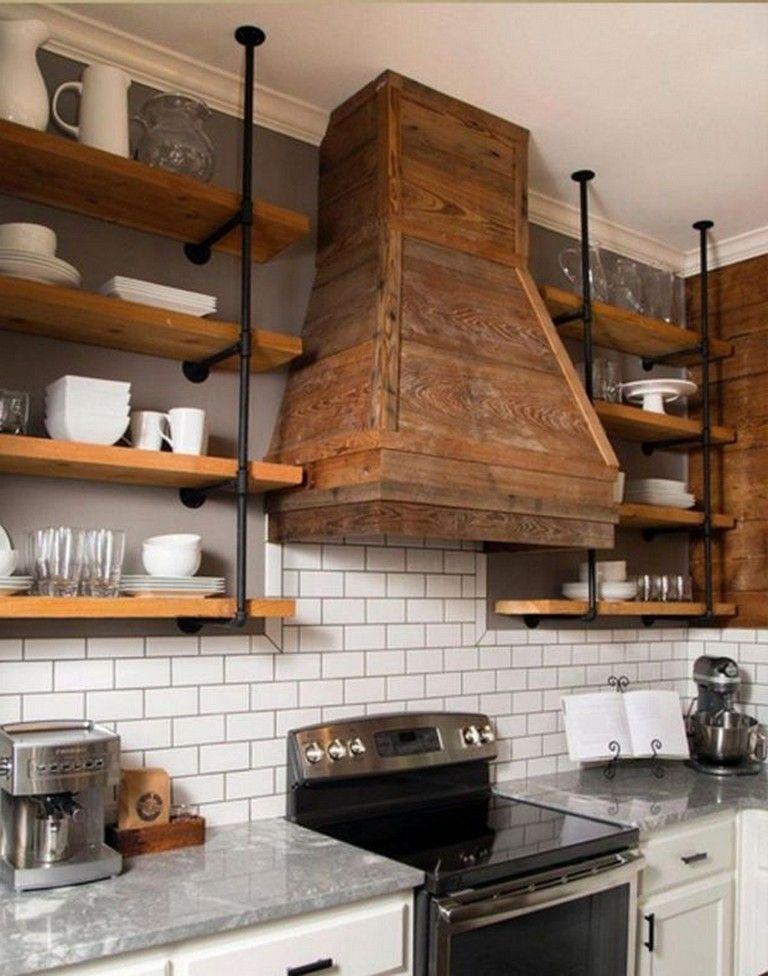 30 Exciting And Easy Diy Floating Shelves Makeover Diyhomedecor Diycrafts Diyjewelry Kitchen Vent Kitchen Hood Design Kitchen Range Hood