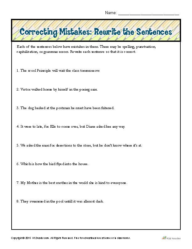 Correcting Mistakes: Rewrite the Sentences | SLP | Run on sentences