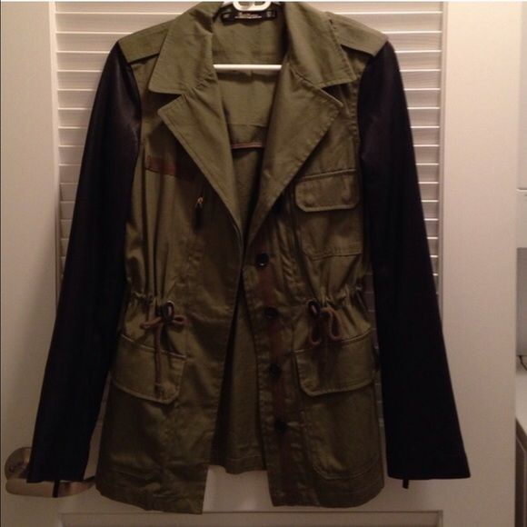Green Parka w/ Leather Sleeves Purchased on here but never get the chance to wear it here in CA..just tried it on since I bought it.. Zara Jackets & Coats