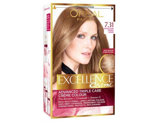 Excellence Crème 7 31 Natural Dark Caramel Blonde By L Oréal Paris Dyed Blonde Hair Boxed Hair Color Loreal