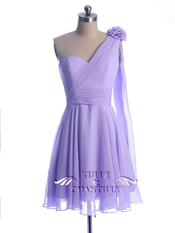 Floral One Shoulder Light Purple Short Bridesmaid Dress [TBQP294 ...