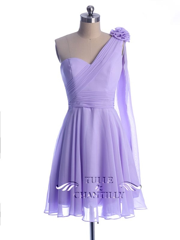 Floral One Shoulder Light Purple Short Bridesmaid Dress   Bridesmaid ...