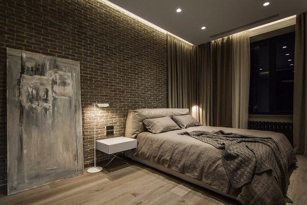 Masculine Mens Bedroom In Shades Of Beige And Contrasting With - Posh bedroom designs