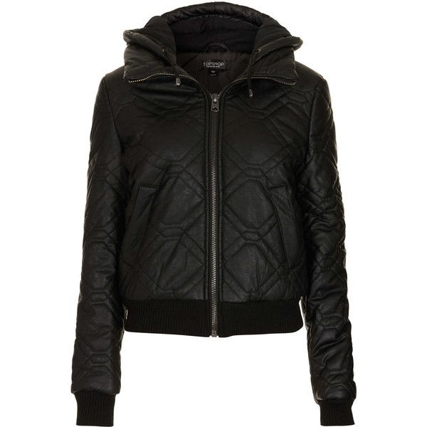 TOPSHOP Quilted Faux Leather Puffer (235 BRL) ❤ liked on Polyvore featuring outerwear, jackets, topshop, black, hooded jacket, hooded faux leather jacket, quilted jacket, puffy jacket and vegan leather jacket