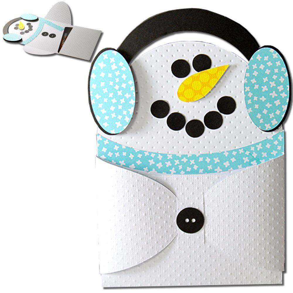 Snowman Earmuff Hug Gift Card Holder Jmrush Approximate Card Size 4
