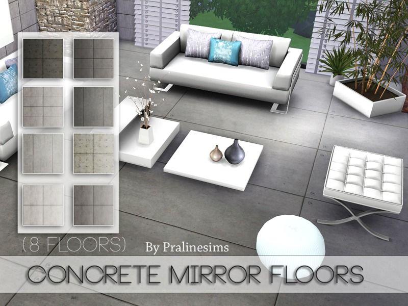 Pralinesims' Concrete Mirror Floors Floor mirror, Flooring