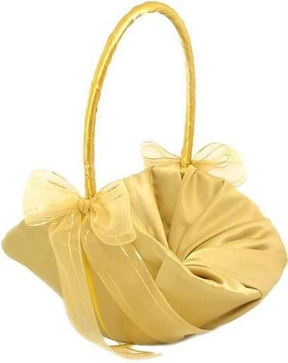 Basket for flower girl but in Red and White ribbon.