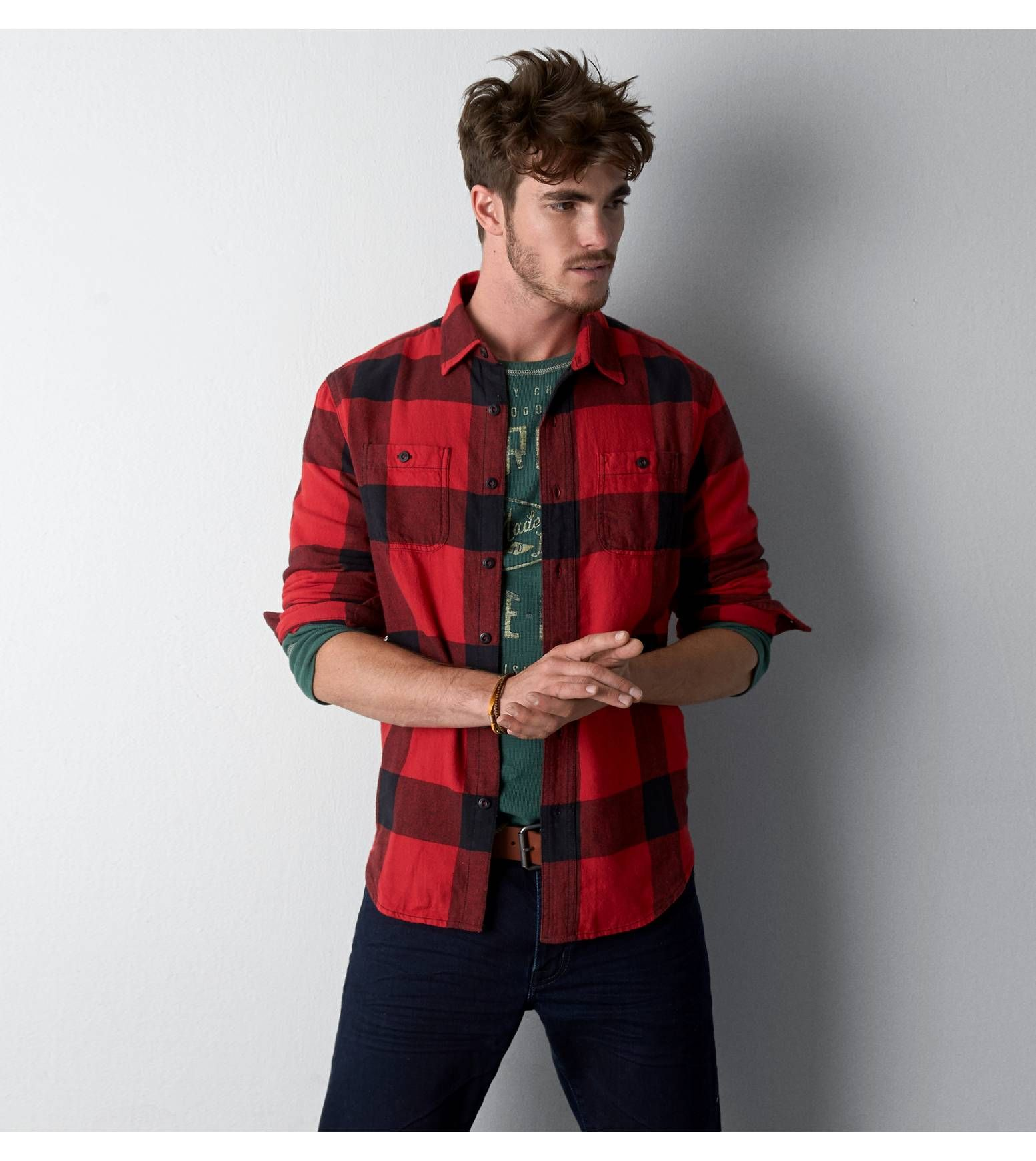 Red Cord AEO Heritage Flannel  Style  Pinterest  Aeo Flannels