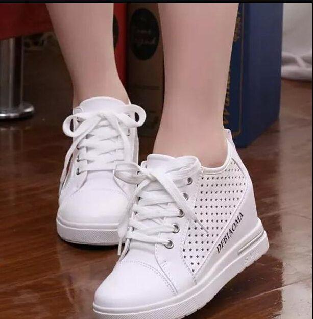 5da38ca18b3e White Fashion Women Wedge Shoes High Top Casual Womens Floral Shoes Women  Shoes for Women