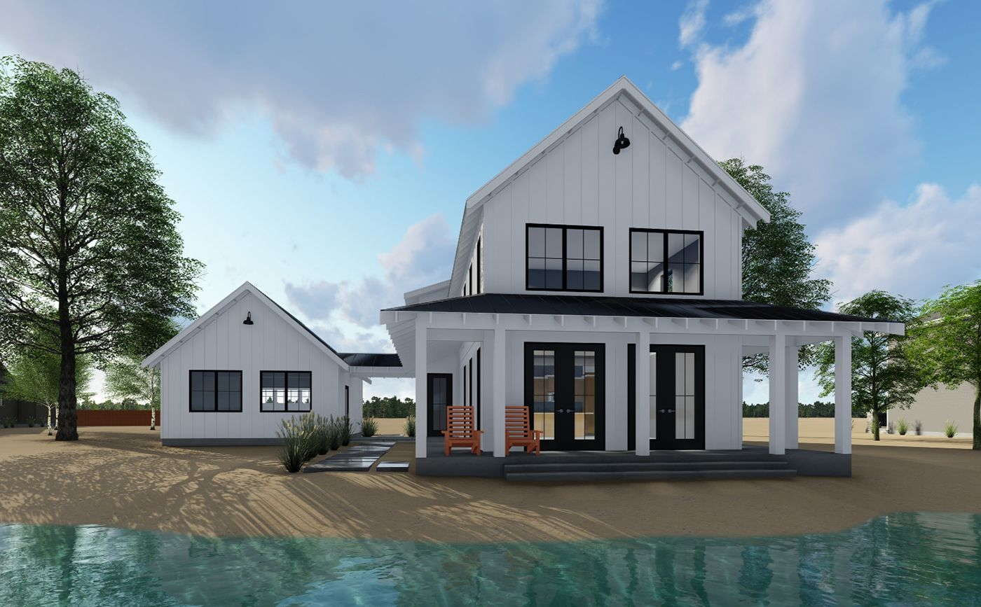 Modern Farmhouse Plan With 2 Beds And Semi-detached Garage