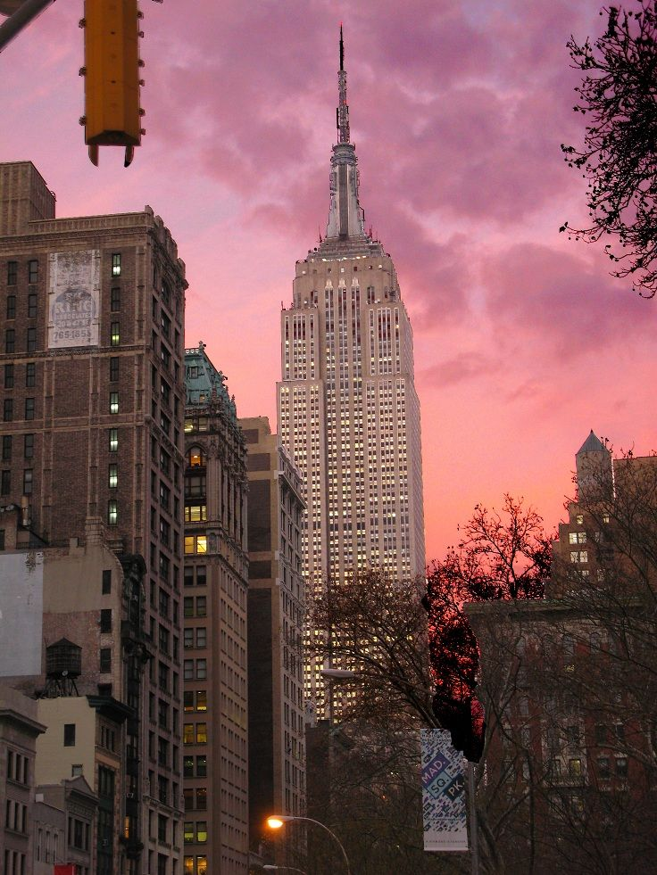 Top 10 Sunsets Over The Empire State Building Top Inspired City Aesthetic Empire State Building New York Life
