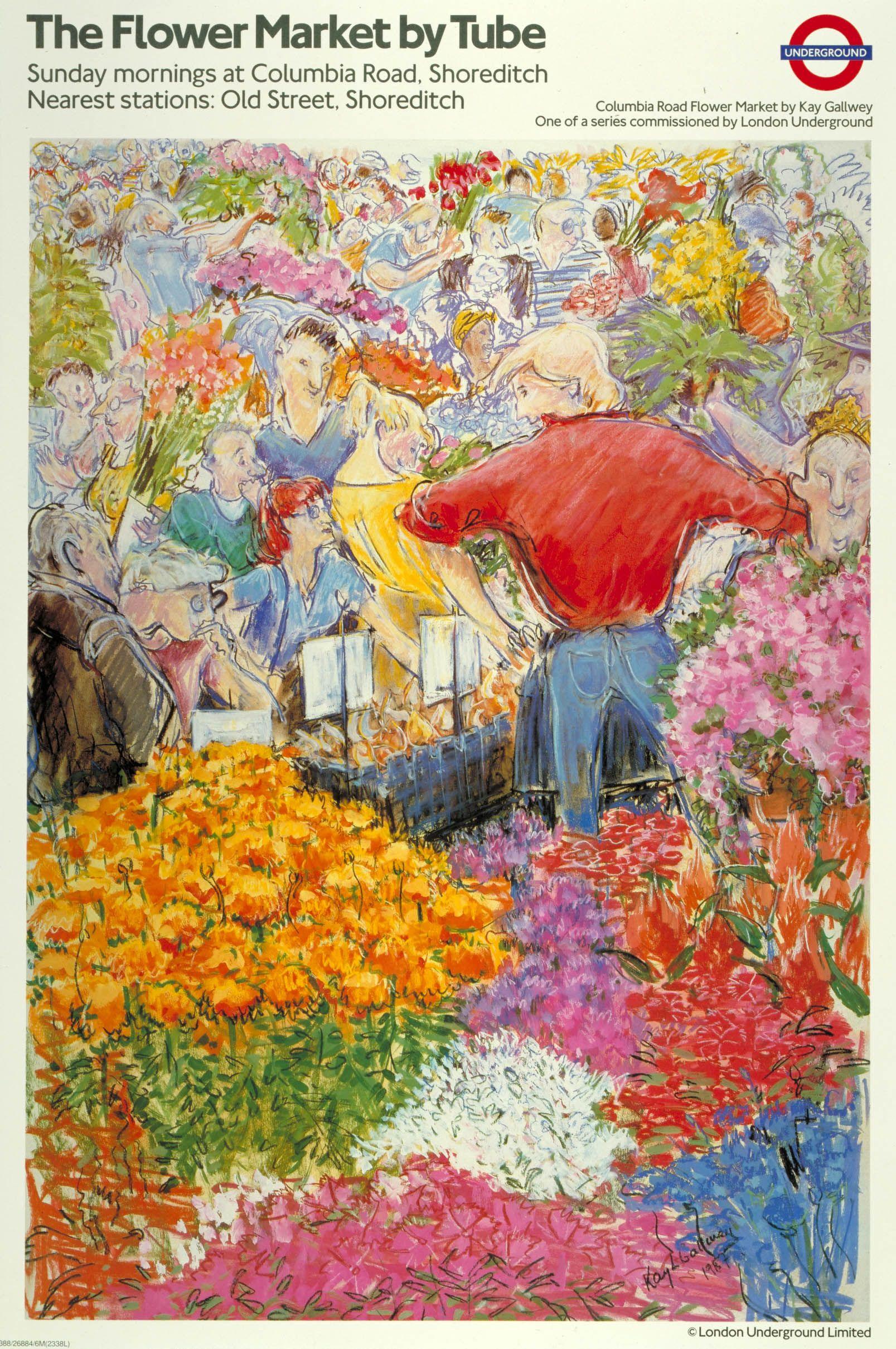The Flower Market By Tube Poster Art Poster Artwork Underground Art
