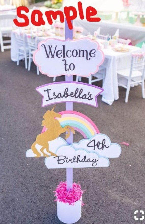 DIY Princess Birthday Welcome sign - Unicorn birthday party decorations, Unicorn birthday parties, Unicorn themed birthday party, Unicorn theme party, Unicorn party, Unicorn themed birthday - Hello! This listing is for a DIY Princess Birthday Welcome sign  Each piece will need to be glued together  All of the pieces will need to be arranged and attached to a wood post as pictured  Wood post or base not included!Please leave name and age of Birthday girl in comments along with your purchase The silver castle and wand will be glitter Finished design as I have it arranged and spaced is about 26  tall by 15  wide If you have any questions or customization preferences feel free to ask!Feel free to add any jewels or bling to your sign to top it off! The creativity is in your hands )Refer to pictures for a sample photo of putting together your sign!Thanks!!